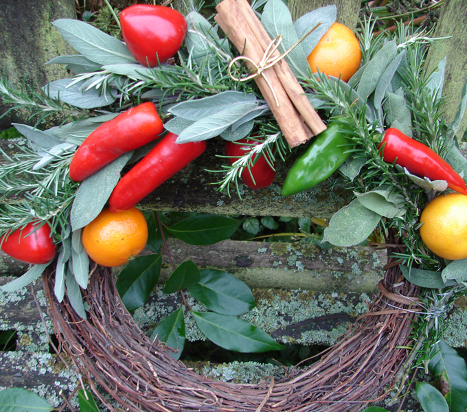 christmas wreath with chillis