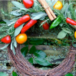 christmas wreath with herbs