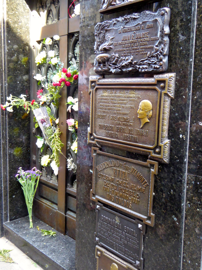 Fresh flowers mark one of the famous tombs in the Recoleta Cemetery, that of Eva Peron.