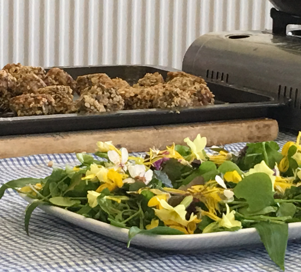 Savoury puddings with salad a