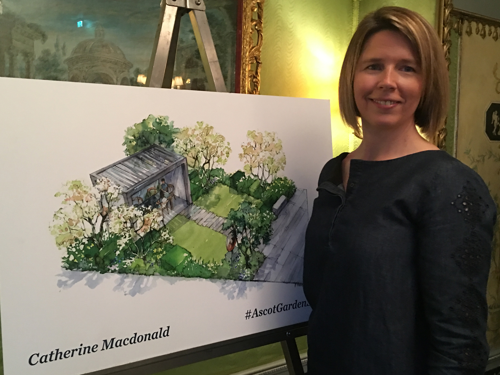 catherine macdonald with her design for ascot spring garden show 2018