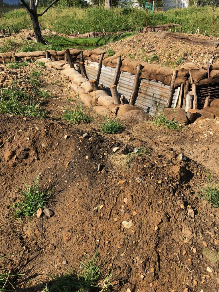 Re-created WW1 trenches at Hampton Court Flower Show
