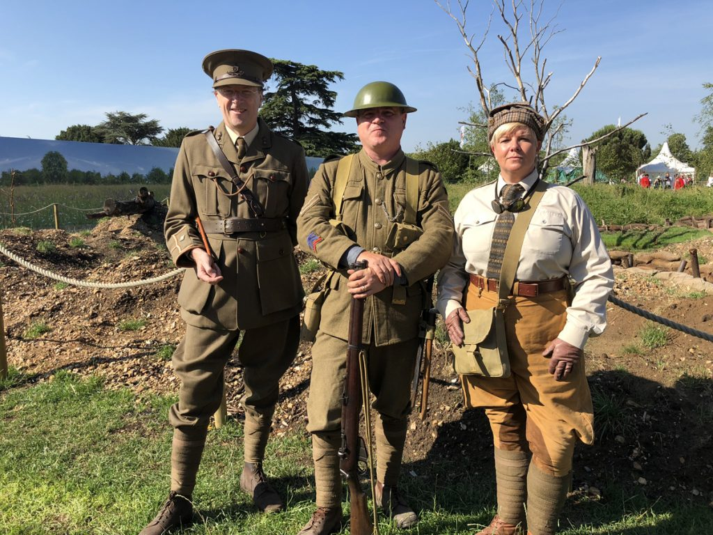 Members of the 10th Battalion Regiment Essex Living History Group at Hampton Court Flower Show