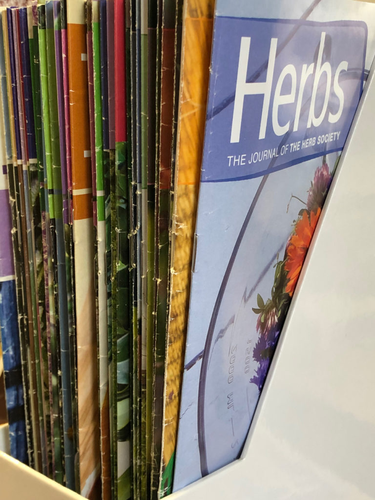 copies of Herbs magazine published by The Herb Society