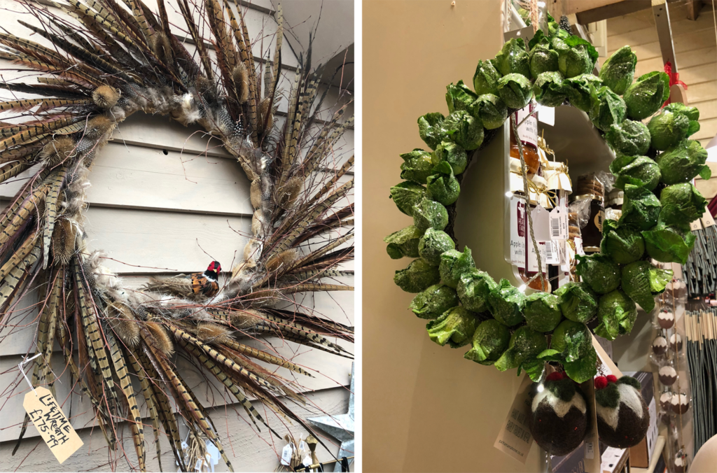 Feather and brussel sprouts Christmas wreaths