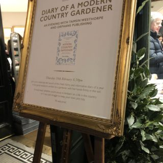 sign to book launch of tamsin westhorpe's Diary of a modern country gardener
