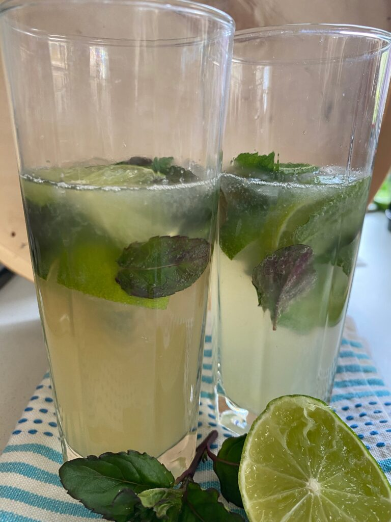 tall glasses with mint and tequila